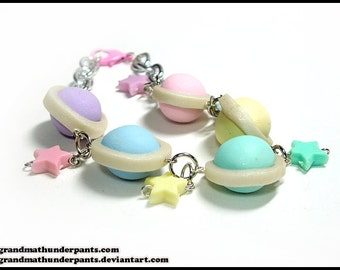 Candy Planet Bracelet, Fairy Kei Space, Handmade Pastel Jewelry, Pastel, Original Design