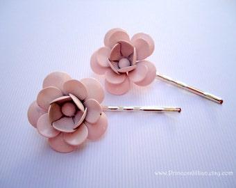 Vintage earrings hair slides - Simple blush light fade champagne pink lavender enamel flower girl fun embellish decorative hair accessories