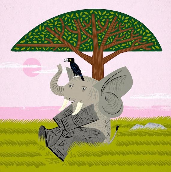 The Elephant and The Eagle - Animal illustration - Childrens art - Nursery art - Nursery Decor - iOTA iLLUSTRATiON