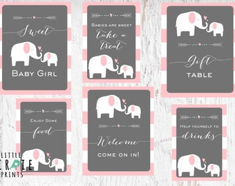 ELEPHANT Baby Shower Decorations SIGNS- Pink Girl Elephant baby shower Welcome signs - Instant download