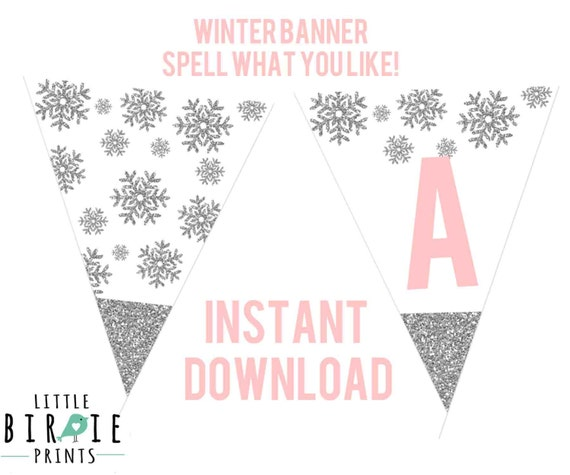 winter onederland printable banner silver by