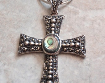 Abalone Cross Sterling Silver Necklace Marcasites Large Vintage CW0179