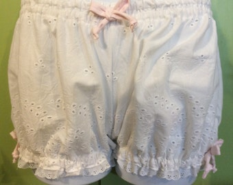 Adult Womens Bloomers, Pajama Bottoms, ALL EYELET--Size Small, White cotton trimmed in Pink Ribbons and White Eyelet
