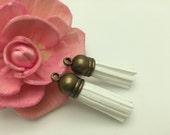 50 Pieces 39x10MM White Color Faux Suede Leather Tassel With Plastic Bronze Top Cap,Phone Accessories, Necklace Tassel Pendant