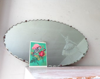Vintage Bevelled Edge Mirror with Ballerina Etching - Pick Up Only