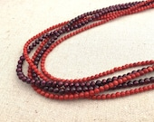 Red Garnet, Bamboo Coral and Freshwater Pearls with Sterling Silver Filled Toggle Clasp