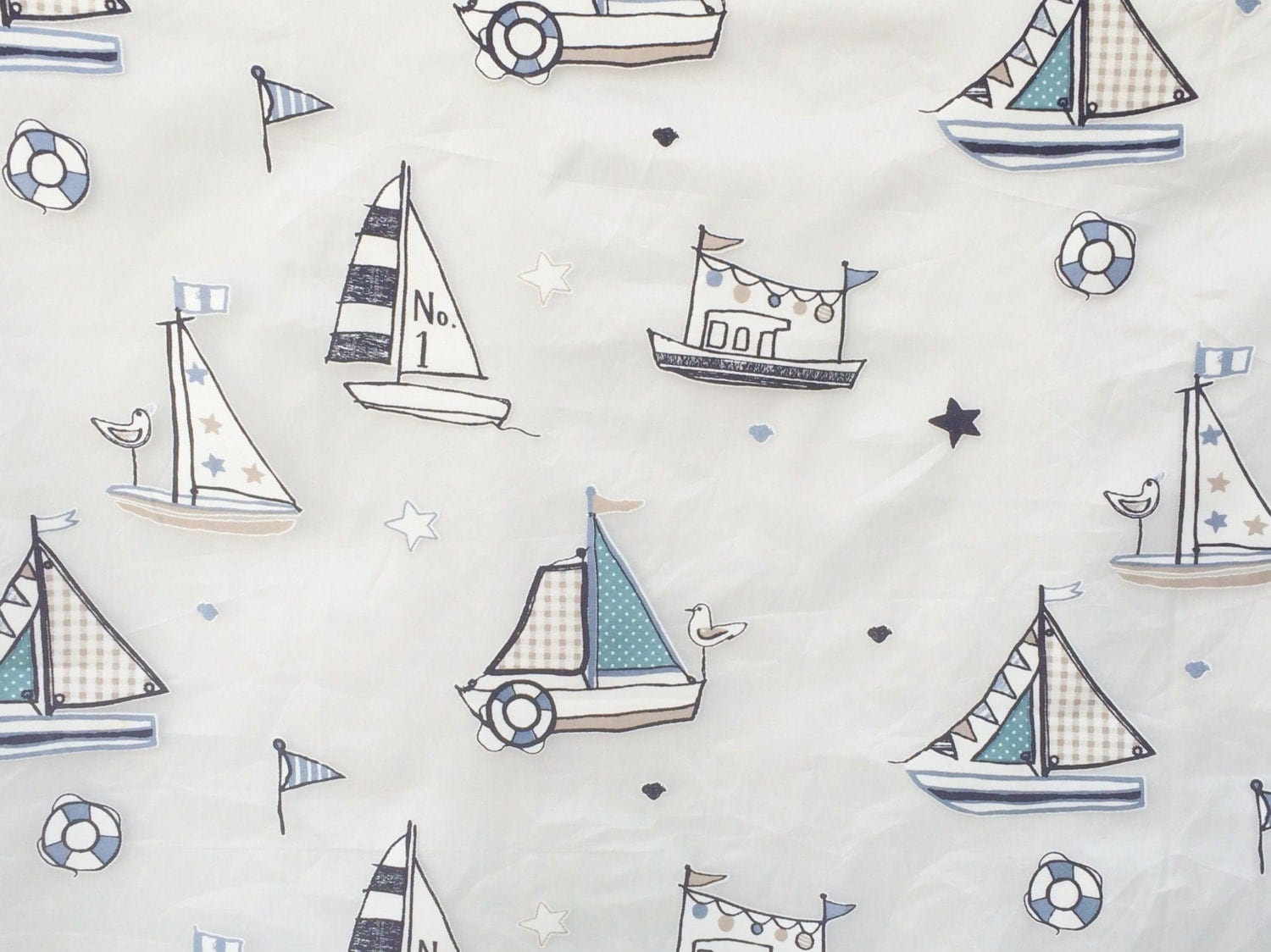 Blue natutical boys sheer curtain fabric by the yard kids for Kids drapery fabric