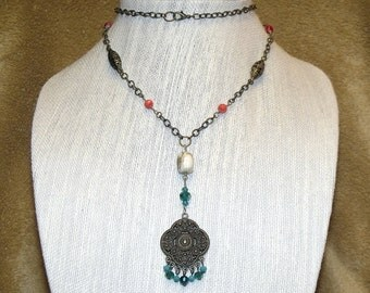 Bronze Teal Red Pendant Necklace Free Spirit Hippie Boho Indie Hipster Bally