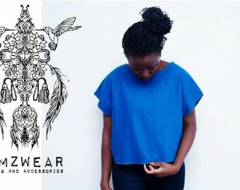 Womens linen royal blue blouse from memzwear