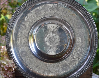 Engraved Silver on Copper Dessert Server / Lazy Susan Silver Platter / Vintage Wedding Decor
