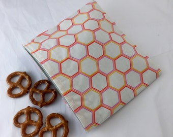 Reusable Snack Bag - Reusable Baggie -Snack Bag - Fabric Snack Bag - Reusable Fabric Snack Bag - Orange Honeycombs