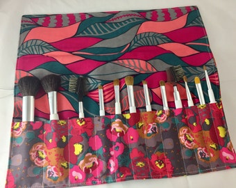 Makeup Brush Holder - Makeup Brush Roll - Makeup Brush Bag - Makeup Brush Case - Makeup Brush Organizer - Mod Corsage Peonies in Bright Red