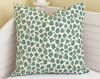Quadrille China Seas Conga Line in Jungle/ Aqua on White Suncloth Indoor Outdoor Designer Pillow Cover 20 x 20