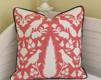 Schumacher Chenonceau Designer Pillow Cover with Choice of Piping Color - Square, Lumbar and Euro Sizes
