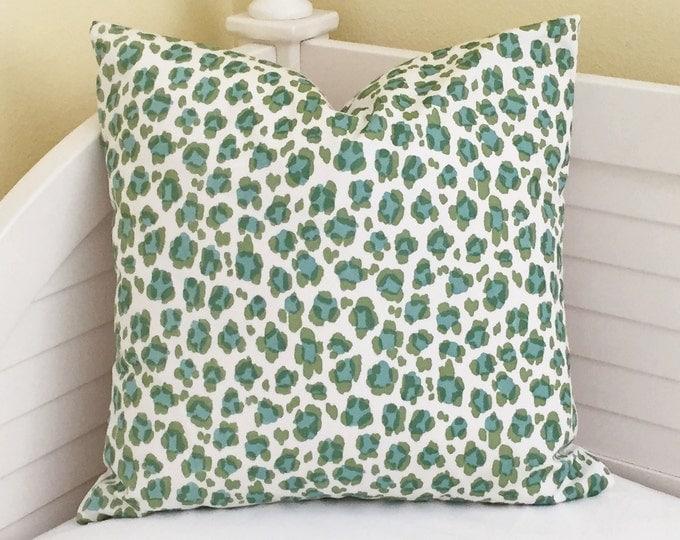 Quadrille China Seas Conga Line in Jungle/ Aqua on White Suncloth Indoor Outdoor Designer Pillow Cover 20 x 20