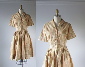 vintage 1950s dress / 50s dress / Atomic Sunburst