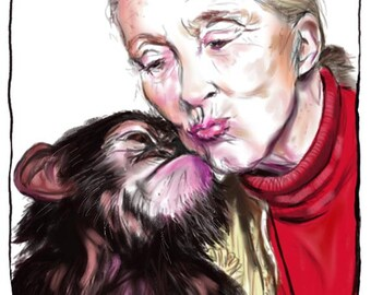 Jane Goodall & Chimp Kissies, A4 Fine Art Portrait Drawing Print