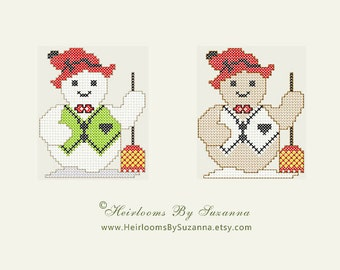 Snowman - Machine Embroidery Pattern - Machine Cross Stitch Design - Holiday - Christmas - INSTANT Download - 4 x 4 Design