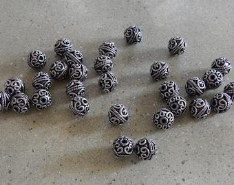 10mm Round Bali Beads