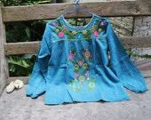 M-L Long Sleeves Bohemian Embroidered Top - Cadet Blue