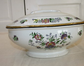 Royal Staffordshire Singapore Antique Soup Tureen w Ladle Hole in Lid Asian Flwr