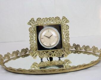 Vintage Mirror Vanity Tray & Sessions Matching Clock Flower Filled Cornucopias