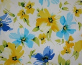 Blue and Yellow on White Floral Print Stretch Cotton Sateen Fabric--One Yard