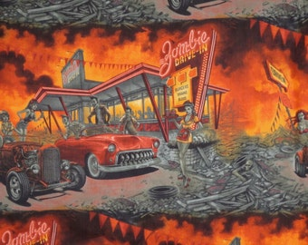 Orange and Gray Zombie Drive In Print Pure Cotton Fabric --One Yard