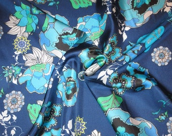 Shades of Blue with Green Floral Print Pure Silk Surah Fabric--By the Yard
