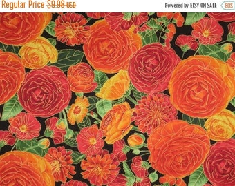 ON SALE Stunning Orange Ranunculus Floral Print with Metallic Gold Pure Cotton Fabric--One Yard