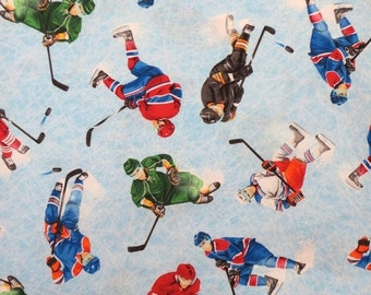 ON SALE Ice Hockey Print Pure Cotton Fabric from Timeless Treasures--One Yard