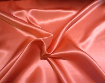 Tangerine Solid Color 16 mm Pure Silk Charmeuse Fabric--By the Yard