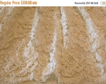 ON SALE Ivory French Chantilly Lace Fabric with Pearls-One Yard