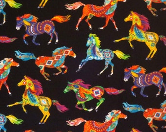 Colorful Rainbow Painted Horse Print Pure Cotton Fabric-By the Yard