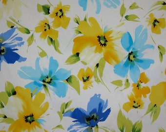 REMNANT--Blue and Yellow on White Floral Print Stretch Cotton Sateen Fabric--One Yard