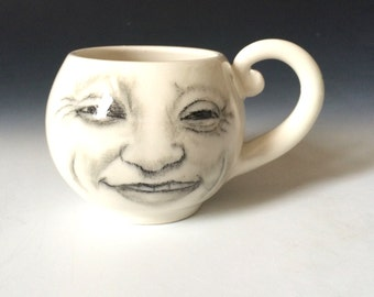 Happy Moon Cup, Smiling Joe Moon Cup, Faces of the Moon, Procelain White Cup, White Pottery