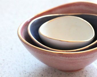 Mini Nesting Bowls - Gold Rim - Salmon, Navy, and White - set of 3
