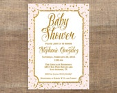 Pink and Gold Baby Shower Invitation, Gold Glitter Confetti Baby Shower Invite, Baby Girl, PRINTABLE
