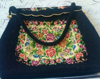 Vintage Black Beaded and Floral Needlepoint Purse, Black Beaded Evening Handbag, Hong Kong