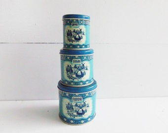Vintage Wolverine Dutch Scene Toy Canister Tins, Flour Sugar Tea  Playtime Canister