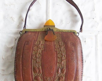 Vintage Arts and Crafts  Purse . JEMCO Frame Meeker Made Tooled Leather . Bakelite Drop and Clasp Handle
