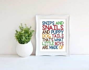 Custom Colors | Snips and Snails and Puppy Dog Tails | Nursery Art | Wall Art | Subway Art | Nursery Decor | 5x7 | 8x10 | 11x14