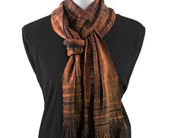 Black and Brown Bamboo Scarf, Organic and Calabe Weave