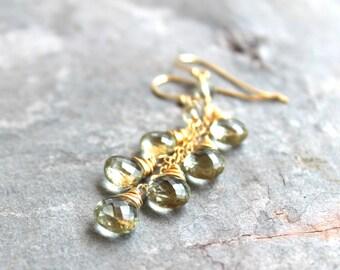 Green Amethyst Earrings 14k Gold Filled Dangle Cascade Earrings, Prasiolite Waterfall