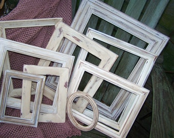 Shabby Cottage Handpainted Ivory Distressed Wooden Picture Frame Set for Wedding Nursery Home Decor