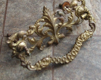 Antique Vintage Drawer Pull Ornate Brass