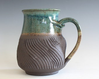 Twisted Mug, 17 oz, handthrown ceramic mug, stoneware pottery mug, unique coffee mug