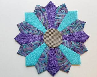 4 Dresden Plate Patchwork Quilt Blocks 10 inches Turquoise and Purple Fabrics Gold Highlights Applique