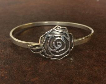 Sterling Silver Rose Bangle - Flower Bangle - Silver Bangle