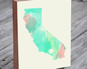 Watercolor City - Watercolor State - Los Angeles Wall Art - Los Angeles Map - Los Angeles Art - Wood Block Art Print